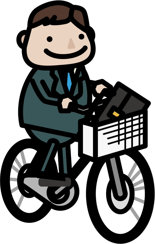 自転車通勤する人のイラスト