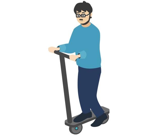 電動キックボードに乗る人のイラスト