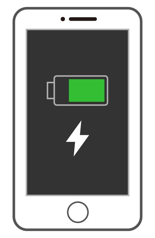 フル充電のスマートフォン