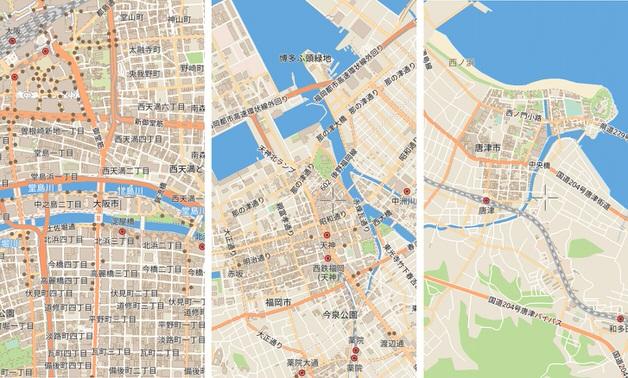 ガリレオマップから抜粋した3枚の地図
