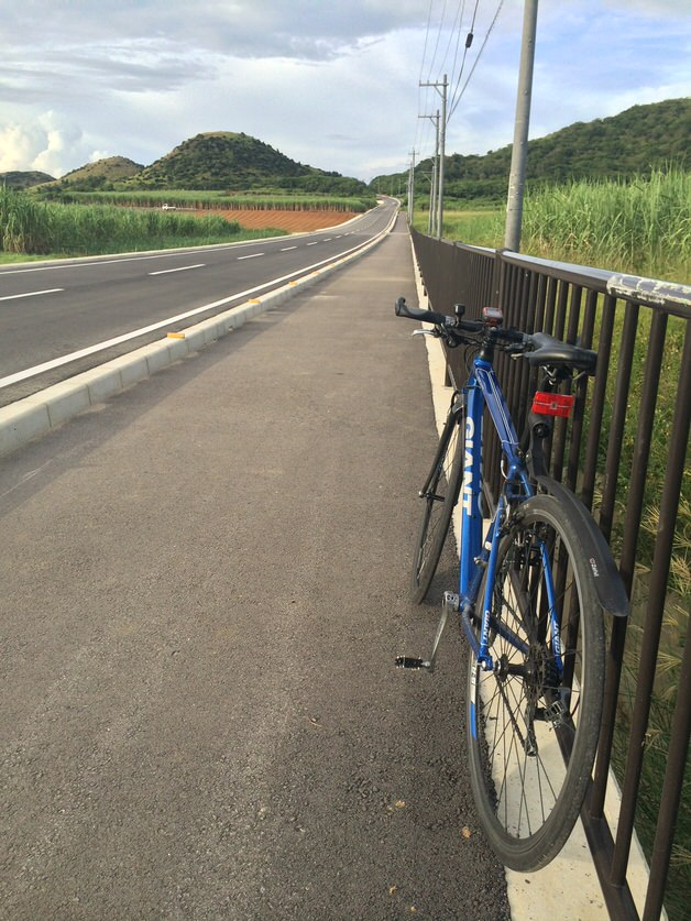 道沿いのクロスバイク