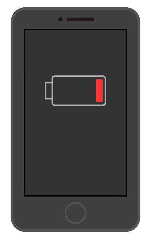 バッテリー切れのスマートフォン