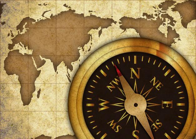 古地図とコンパス