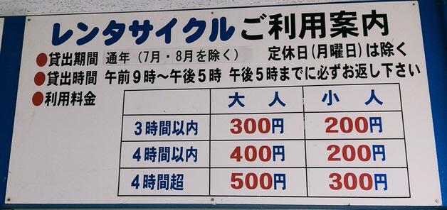 レンタサイクルの価格など表示