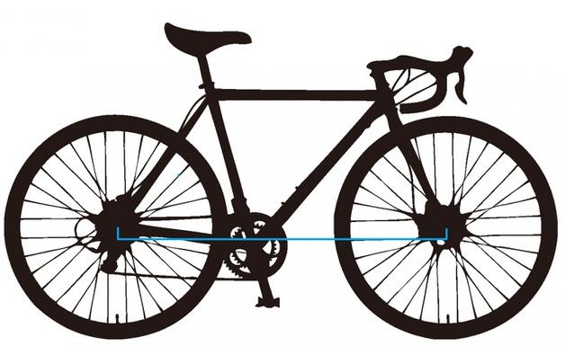 ロードバイクのシルエット ホイールベースを注釈