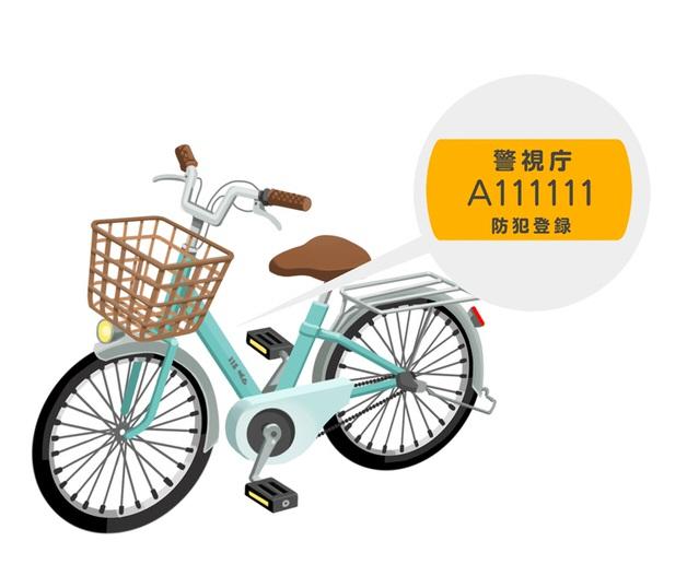 防犯登録した自転車のイラスト