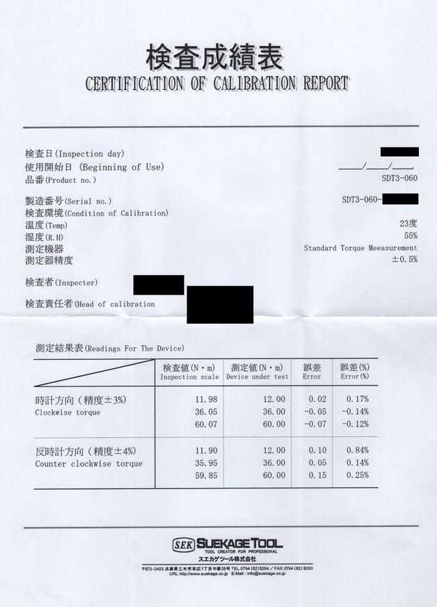 SK11の検査成績表