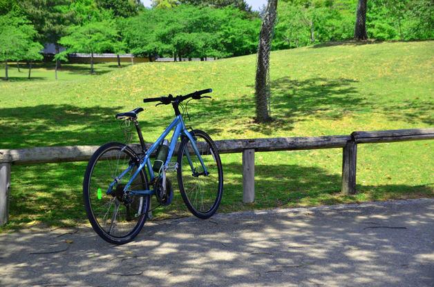 蒼いクロスバイクと草原