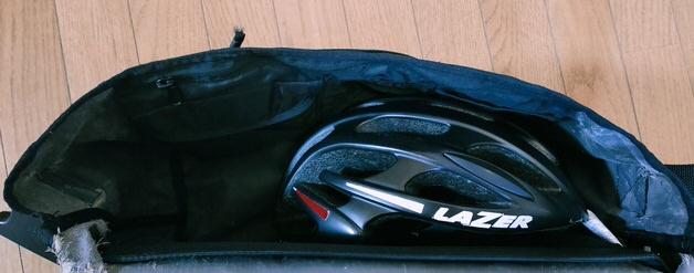 Mサイズにヘルメットを入れたところ